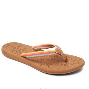 Roxy Gianna Striped Flip flop Sandal 9 floral pink